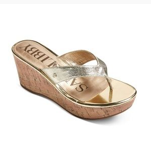 Sam & Libby Raley Thong Sandals - Gold - Size 9